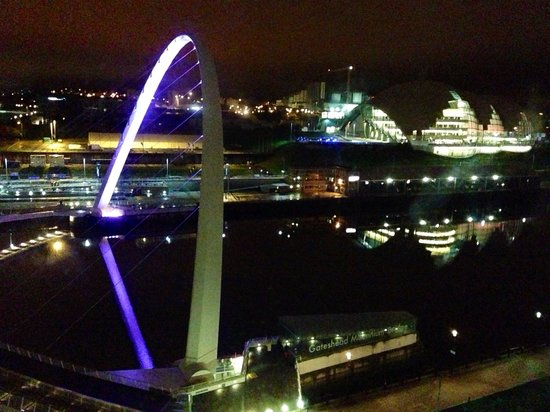 Malmaison Newcastle: Nighttime view from the arc royal