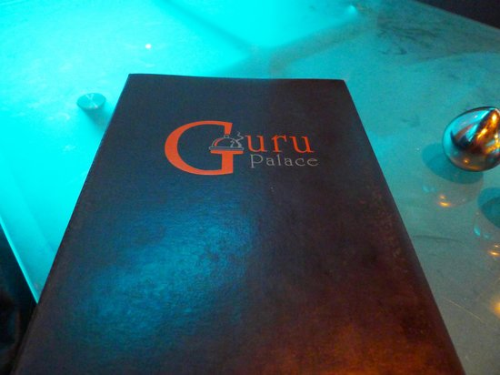 Guru Palace: Menu on the see-through table
