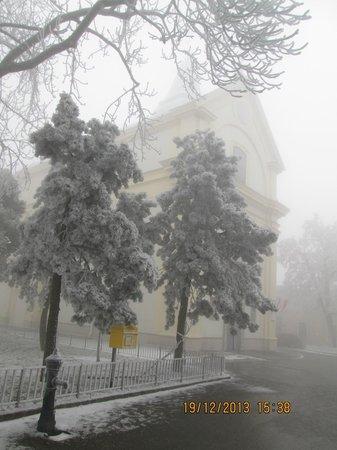 Kahlenberg: Przez mgłę i ośnieżone drzewa widać kosciół