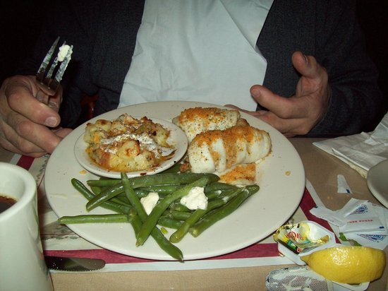 Captain Parker's Pub: flounder rolled with stuffing au grautin potatoes