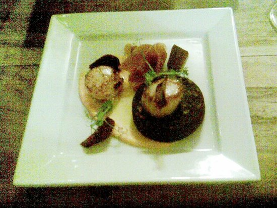 The Bluebell : A starter of Scallops with Black Pudding and Crispy Ham on a bed of celery mash, nicely presente