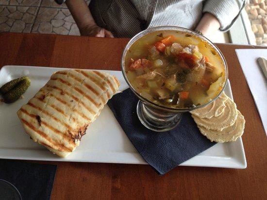 Vino Loco: Soup (fantastic!) & 1/2 Sandwich.