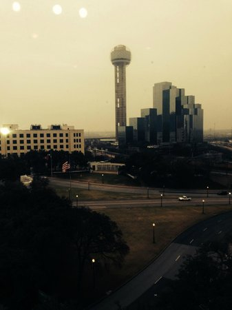 "The Sixth Floor Museum/Texas School Book Depository: VIEW FROM 6TH FLOOR TO REUNION TOWER WITH ""X"" ON ROAD"