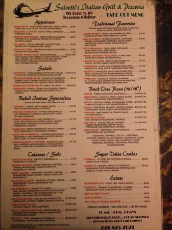 Take out menu picture of salvetti 39 s italian grill ocean for Take out menu