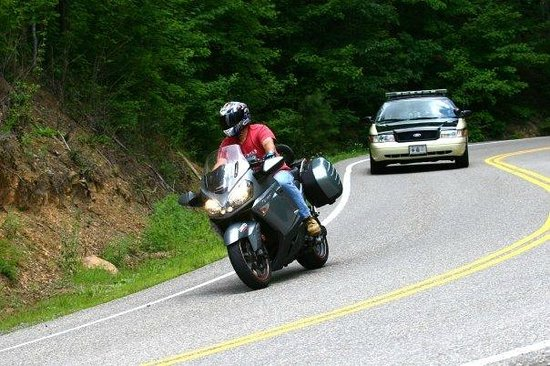 Tail of the Dragon: Not a set-up, the cop just happened to be there.