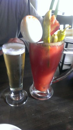 Fork In The Road: Egg n bacon bloody w choice of draft chaser.  Perfect