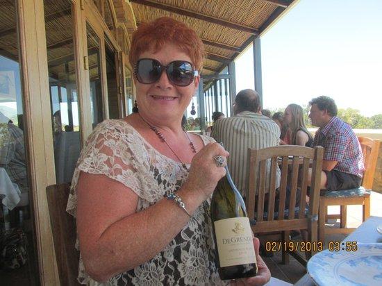 De Grendel Restaurant: enjoying a bottle of De Grendal wine