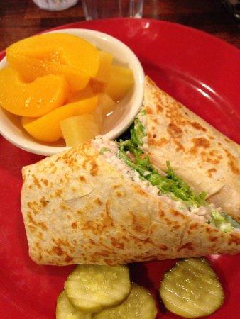 Elizabeth's Cafe: Chicken salad wrap with fruit $5.45 Saturday special