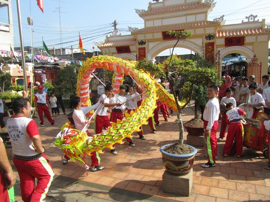 Chau Phu Temple: January 2012 Temple festival with lion and dragon dance at temple courtyard
