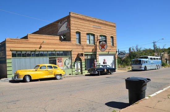 Bisbee Breakfast Club: 50's vehicles on Erie St, Bisbee