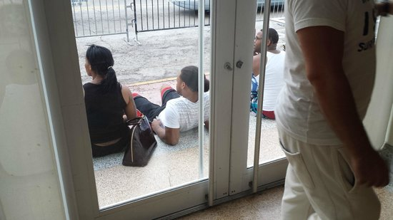 Found Places Clifton Hotel South Beach: The furniture was removed which left people sitting on steps blocking entrance
