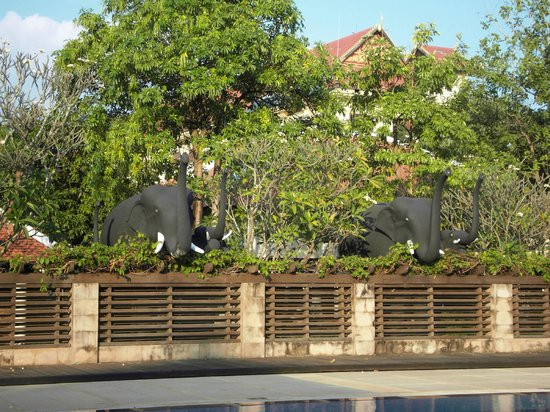 Royal Angkor Resort & Spa: more elephants overlooking pool area