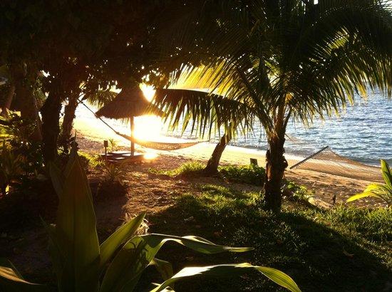 Blue Lagoon Beach Resort: beach front villa's private seating and hammock