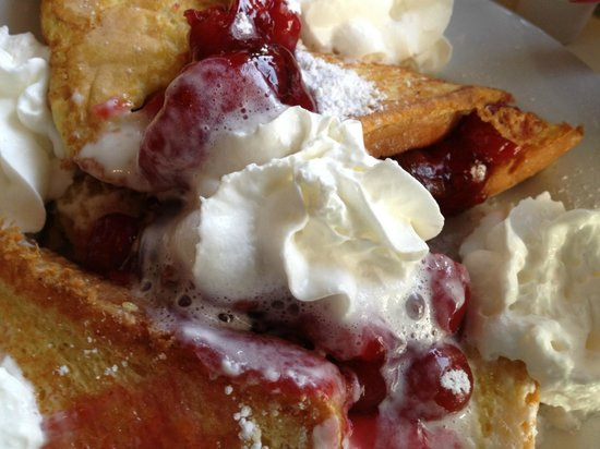 Julie's Park Cafe: Cherry and Cream Cheese stuffed French Toast - One of the best breakfasts I've ever had.
