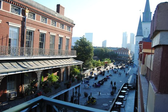 Place d'Armes Hotel: View of Jackson Square and the area in front of the Cathedral from room 219.