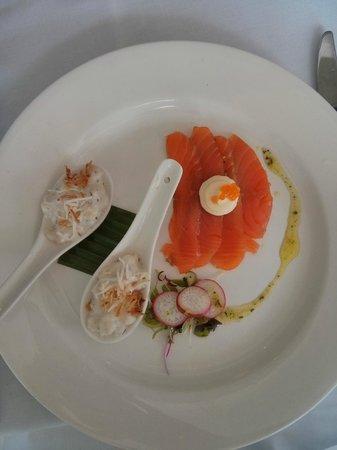 2 Fish Restaurant: Gravalax + ceviche of coral trout