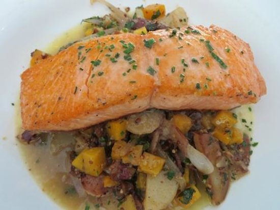 Salmon over winter vegetable hash - Picture of Roots Restaurant and ...