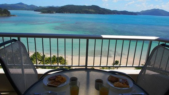 Whitsunday Apartments Hamilton Island: view from balcony at brunch