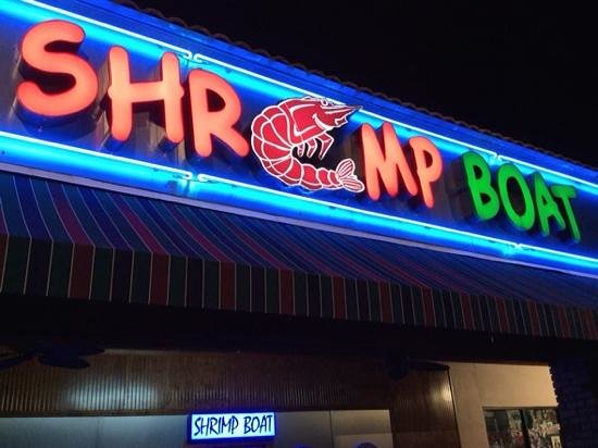 Shrimp Boat Grill: the outside at night