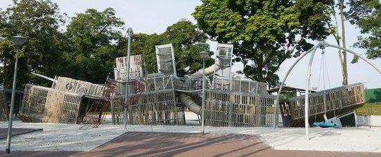 Sembawang Park: Battleship climbing feature in children's playground