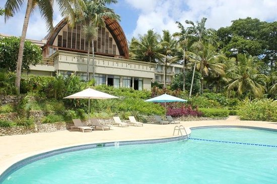 """Holiday Inn Resort Vanuatu : View from the """"top pool"""", looking back at the lobby"""