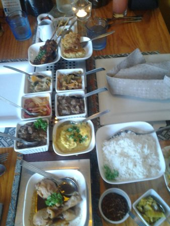 Indonesia Restaurant: the meat rijsttafel (rice table)