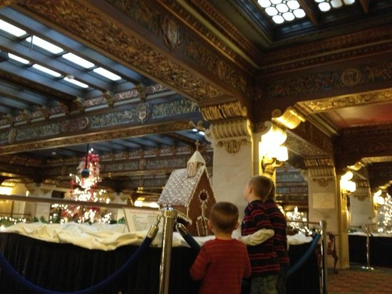 The Historic Davenport, Autograph Collection: Detailed gingerbread houses lined the 2nd floor to a kids delight
