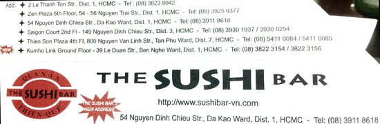 The Sushi Bar 3 : Their Locations