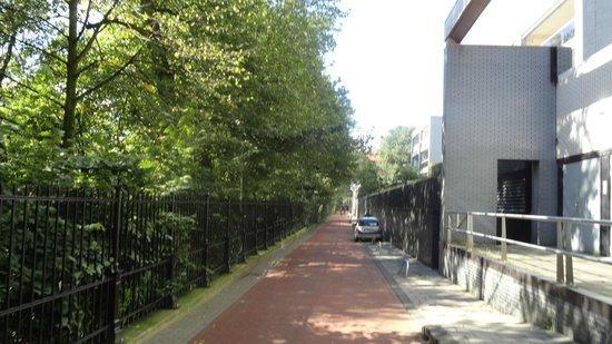 Stayokay Hostel Amsterdam Vondelpark: Rua de acesso, ao lado do parque Vondelpark