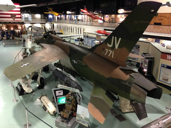 Air Force Armament Museum: F-105 inside, surrounded by various weapons.