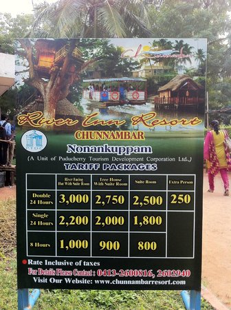 Chunnambar Boat House: The Resort's Tariff and Package Details