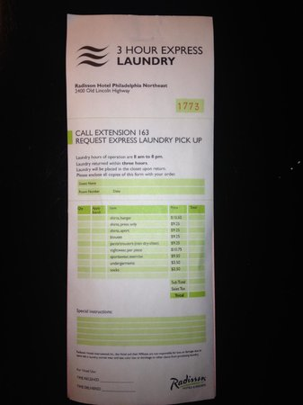 Radisson Hotel Philadelphia Northeast : Express dry cleaning form