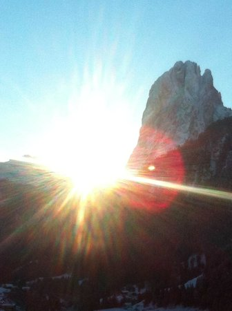 Solaria Apartments: Sunrise over the dolomites from our apartment at Solaria - breathtakingly beautiful.
