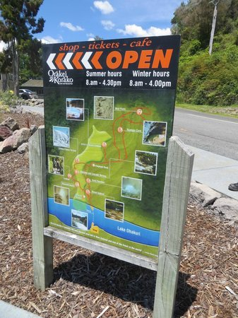 Orakei Korako Cave & Thermal Park: Sign out front