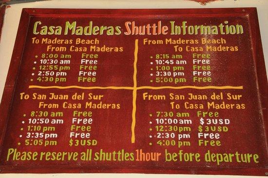 Casa Maderas Ecolodge: Horaires Navette de l'hôtel