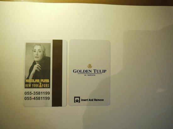 Golden Tulip Al Barsha: Отель рекламирует Шукшина (фото на ключе от номера)