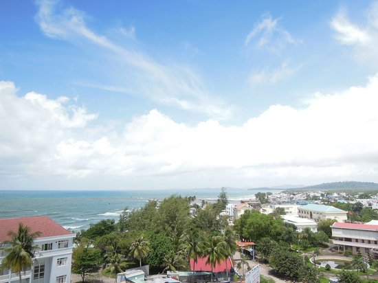 Amazing view from roof balcony of Lighthouse hotel. Panoramic scene toward Gulf of Thailand