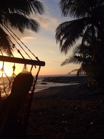 Las Caracolas: View of sunset from hammock.