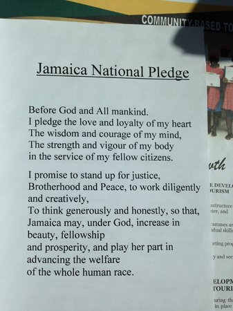 Dudley's Big Ship  Taxi ,Tours: Jamaica national pledge