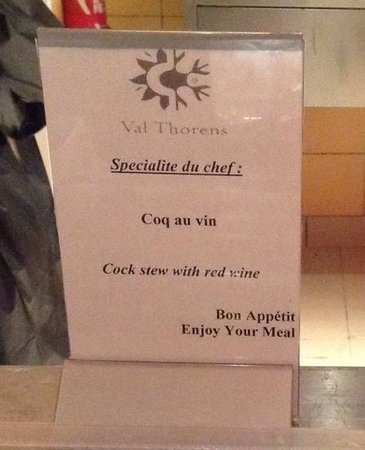 Hotel Club mmv Val Thorens - Les Arolles: sometimes the translations weren't perfect!  But they are funny!