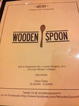 Wooden Spoon : Menu with contact details