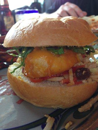 Las Palapas Resort Grill: Mango Honeyrummed Chicken Torta - assembled