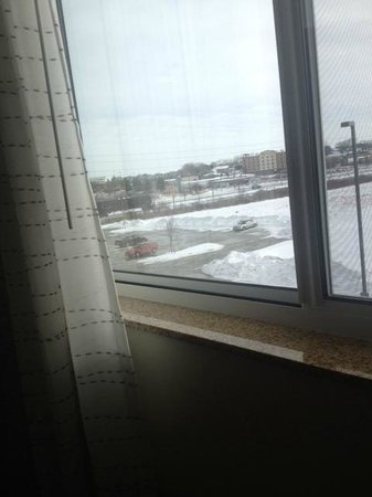 Residence Inn Coralville: See the train in this photo? You can hear it. That was the only interruption to our quiet.