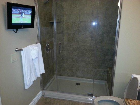 Camden on the Lake Resort : Flat screen in bathroom
