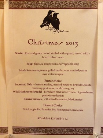 Stanford Inn by the Sea: Christmas Fixed Menu