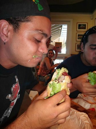 Kua Aina Sandwich: braddah blake pounding his burger