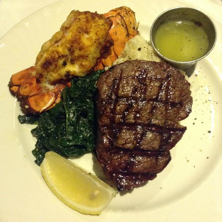 Vieux-Port Steakhouse: Filet mignon with lobster tail.