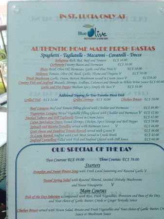 Blue Olive Restaurant and Wine Bar: menu