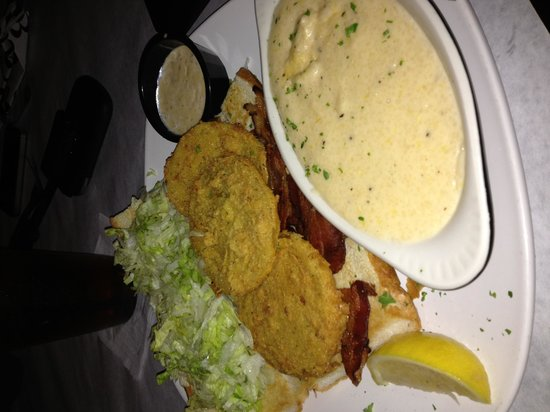 Half Shell Oyster House : Fried Green Tomato BLT and Cheese Grits