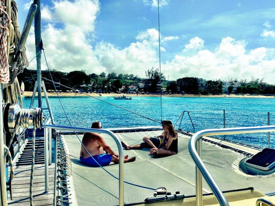 Silver Moon Charters: Hanging out on the trampolines and cruising along
